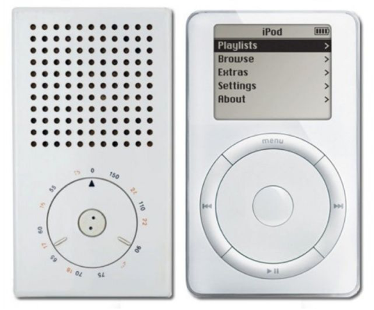 Braun T3 Pocket radio (1958) vs Apple iPod (2001)