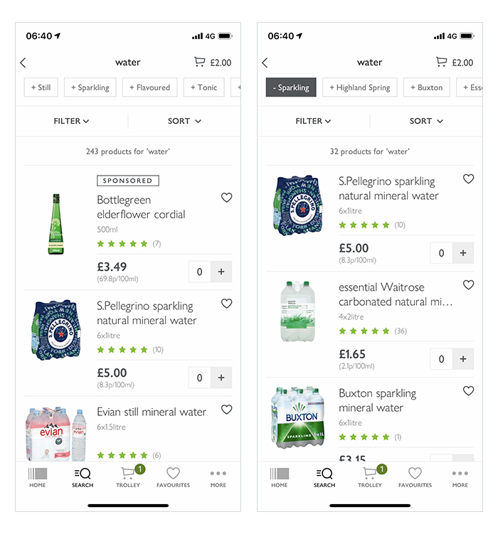 Waitrose.com Refinement Tags