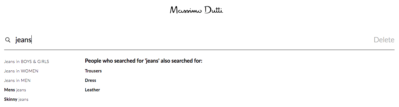Search suggestions after returning to the search box in Massimo Dutti