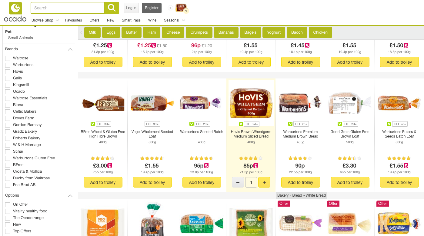 Next Queries appearing after adding bread to the cart in Ocado