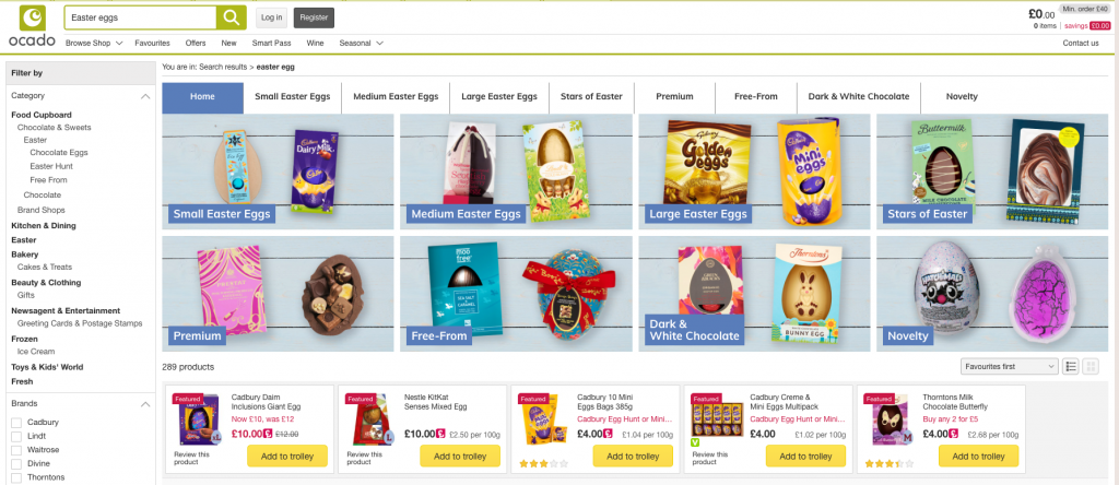 Ocado's search results and filtering options when searching for Easter eggs