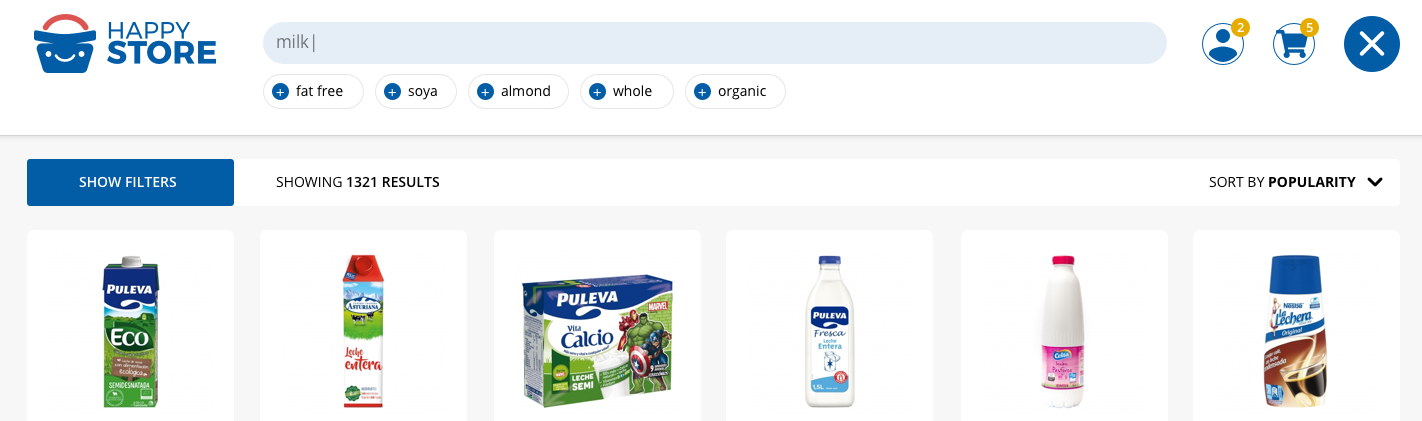 From a specific query (in this example 'milk'), the search box proposes complementary tags to narrow the results to the ones most suitable/desirable for the user. The whole catalogue matching the query appears in real time just under these tag suggestions.